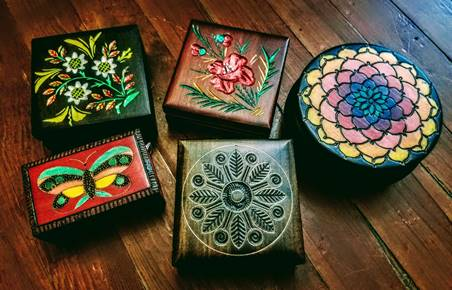 Carved wood boxes from Poland